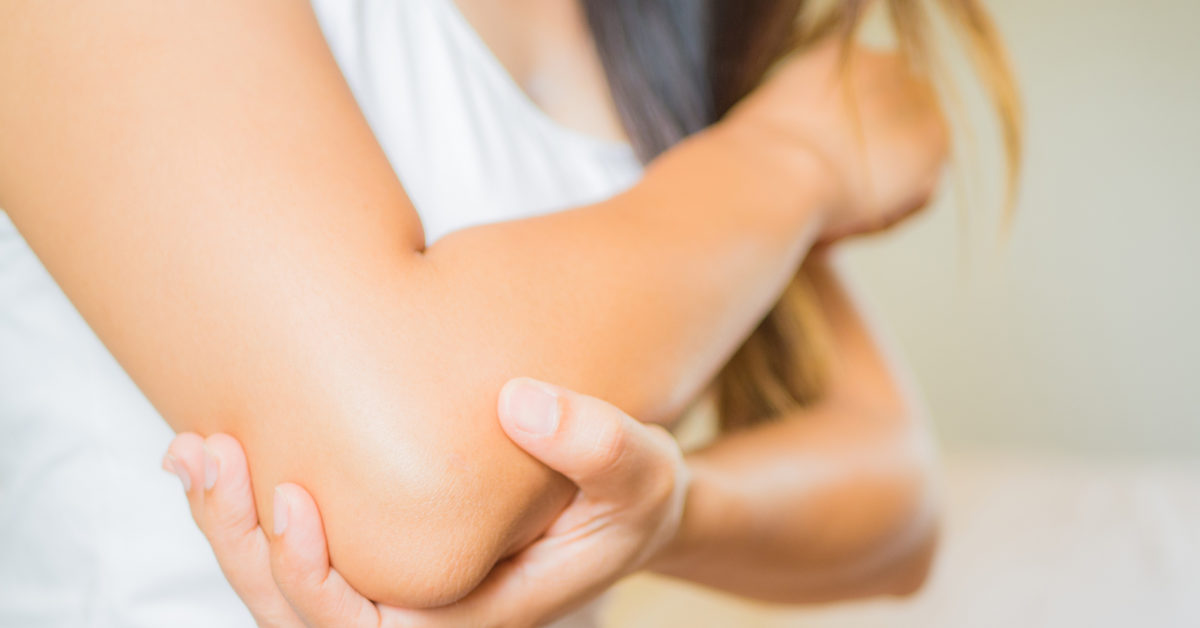 woman with popping elbow